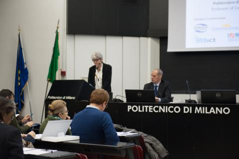 Ms Licia Sbatella opening the International Seminar in Milan